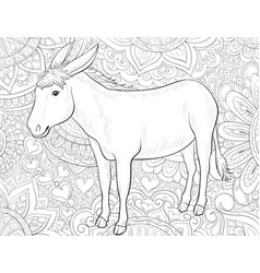 Adult coloring bookpage a cute donkey on the vector