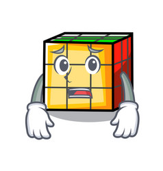Afraid rubik cube mascot cartoon vector