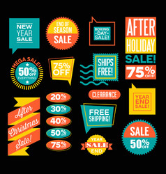 After christmas and end of season sale designs vector