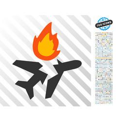 Airplane crash flat icon with bonus vector
