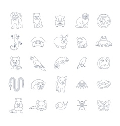 Animals pets flat thin line icons set vector