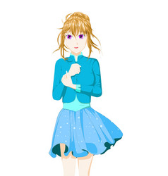 Anime girl with brown hair tied using a blue vector