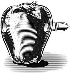 apple hit by a bullet that pierces vector image