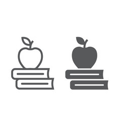 apple on the books line and glyph icon school and vector image