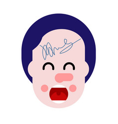 Autograph on forehead happy fan vector