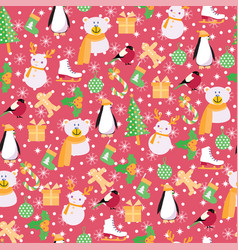 background with santa claussnowman bear penguin vector image