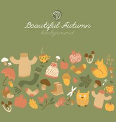 beautiful autumn green background vector image