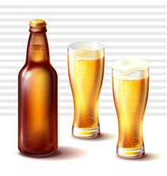 beer bottle and weizen glasses with beer vector image