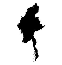 Black silhouette country borders map of myanmar vector
