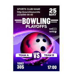 Bowling ball and skittles on lane banner vector