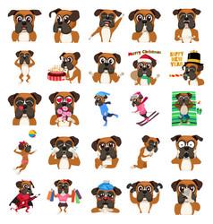 Boxer dog emoji emoticon expression vector