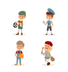 Cartoon profession kids children set vector