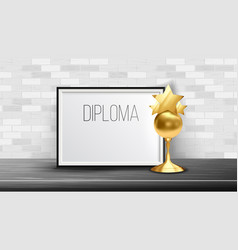 certificate diploma with golden cup modern vector image