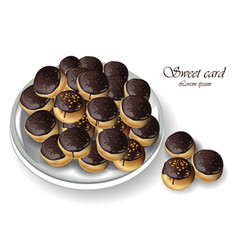 Chocolate profiteroles or profitroli sweet dessert vector