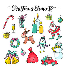 christmas hand drawn elements winter flowers and vector image