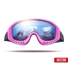 Classic vintage old school pink ski goggles vector