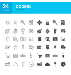 coding line web glyph icons vector image