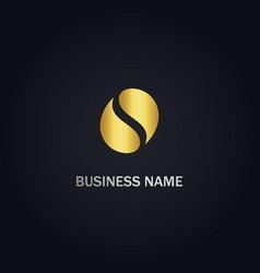 coffee bean gold logo vector image