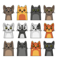 Cute cat face icon set cartoon style on white vector