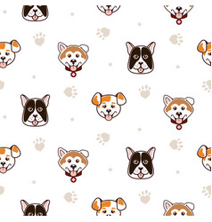 cute dogs animal seamless pattern vector image