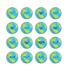 cute globe planet earth cartoon icons vector image