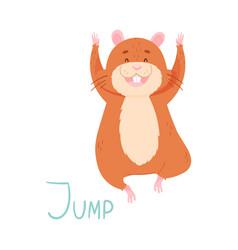 Cute hamster jumping demonstrating english verb vector