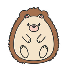 Cute hedgehog animal on white background vector
