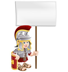 cute roman soldier holding sign board vector image