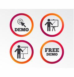 demo with cursor icon presentation billboard vector image