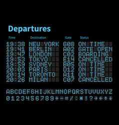 Departures and arrivals airport digital board vector
