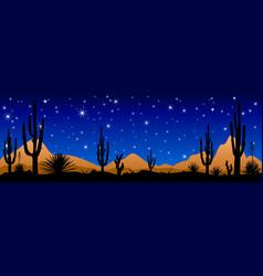 Desert at night the stars shine vector