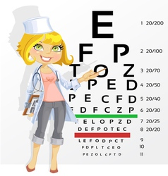 Doctor points table for testing visual acuity vector