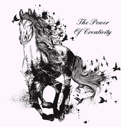 Fashion with hand drawn detailed running horse vector