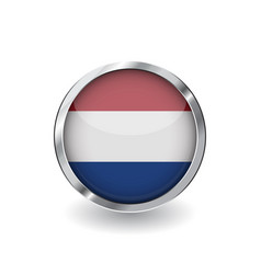 flag of netherlands button with metal frame and vector image