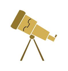 Flat color retro cartoon telescope vector
