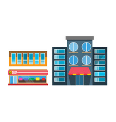 flat design restaurant shop facade icon vector image