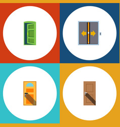Flat icon door set of lobby frame exit and other vector