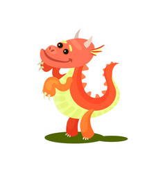 flat icon of adorable red dragon pink vector image