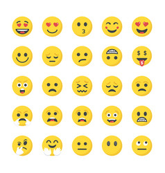 Flat icons pack of smileys vector