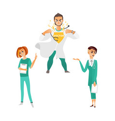 Flat woman doctors super man surgeon vector