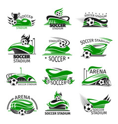 Football isolated icons soccer arena vector