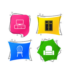furniture icons cupboard chair and tv table vector image