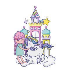 Girl with unicorn in the castle with clouds and vector