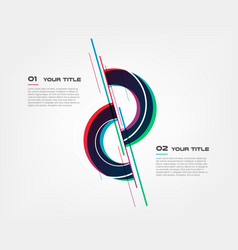 Glitch gradients circle infographics with lines vector