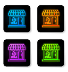glowing neon barbecue shopping building or market vector image