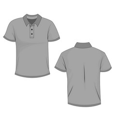Gray polo template in front side and back views vector
