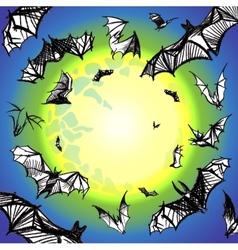 grunge bats flying in night vector image