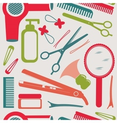 Hairdressing accessories pattern vector