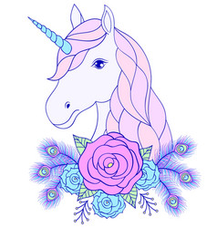 Hand drawn unicorn with floral wreath vector