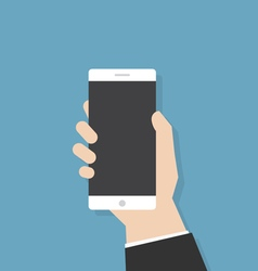 Hand holding flat smartphone vector image